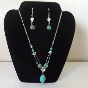 Turquoise & Silver Necklace and Earrings